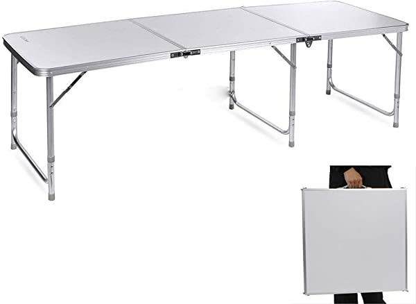 Teeker 铝合金折叠桌便携折叠野餐露营桌多功能室内户外派对餐厅海滩后院烧烤 70 86X23 62X27 56
