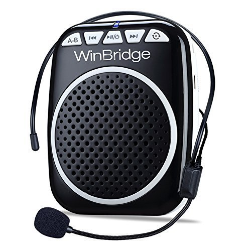 WinBridge WB001 Rechargeable Ultralight Portable Voice Amplifier Waist Support MP3 Format Audio for Tour Guides, Teachers, Coaches, Presentations, Costumes, Etc.-Black