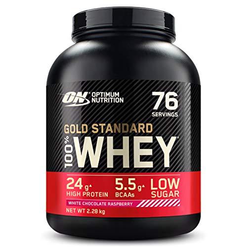 Optimum Nutrition ON Gold Standard Whey Protein Pulver, Eiweißpulver zum Muskelaufbau, natürlich enthaltene BCAA und Glutamin, White Chocolate Raspberry, 76 Portionen 2.28kg, Verpackung kann Variieren