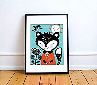 FOX Print // Fox Wall Art // Woodland Baby Nursery Decor