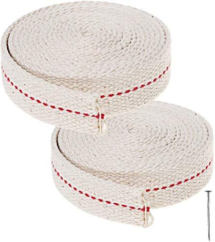 Ruix - Rotoli di stoppino per lampada ad olio, in cotone, piatto, 2 rotoli da 2 m ciascuno