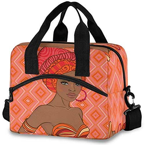 Insulated Lunch Bag African Woman Dancing With Earring Lunch Tote Reusable Cooler Bag Container With Adjustable Shoulder Strap