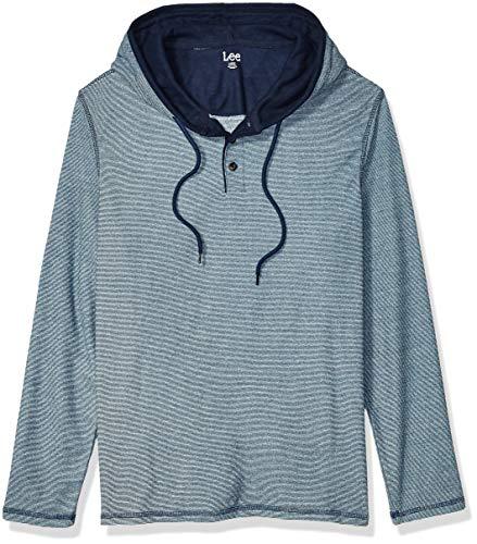 LEE Men's Long Sleeve Hoodie Sweatshirt, Tejas Indigo Blue, Large