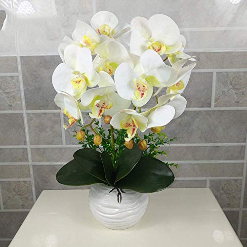 GHJA Phalaenopsis Artificial Flower Simulation Butterfly Orchid Bonsai Wedding Party Home Centerpiece Decor-white