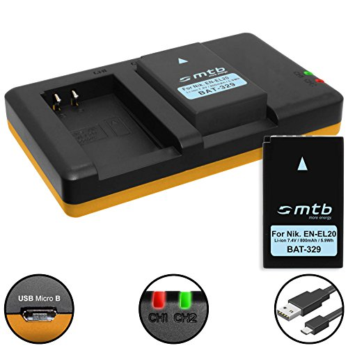 2 Baterías + Cargador Doble (USB) para EN-EL20(A) / Nikon Coolpix A, DL24-500 / Nikon 1 AW1, 1 J1, 1 J2, 1 J3, 1 S1, 1 V3 - Contiene Cable Micro USB