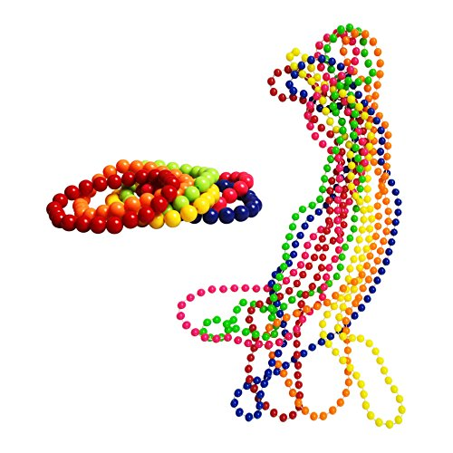 iLoveCos 1980er Party Kleid Zubehör Kunststoff Neon Mehrfarbig Perlenkette Perlen Halsketten Fluoreszierende Perlen und Neon Perlen-Armbänder Set, One Size(S4)
