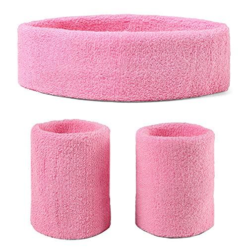 Fasce per la sudorazione (cerchio/braccialetto set) per allenarsi, festa in costume anni '80 - rosa - taglia unica