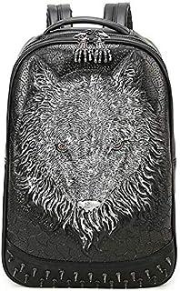 3D wolf backpack travelling bag men unique laptop bag outdoor fashion school bag PB111 silver