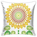 Throw Pillow Case Cushion Cover,Round Sunflower Like Mandala with Diamond and Pearl Prints Wonders of Design ,18x18 Inches