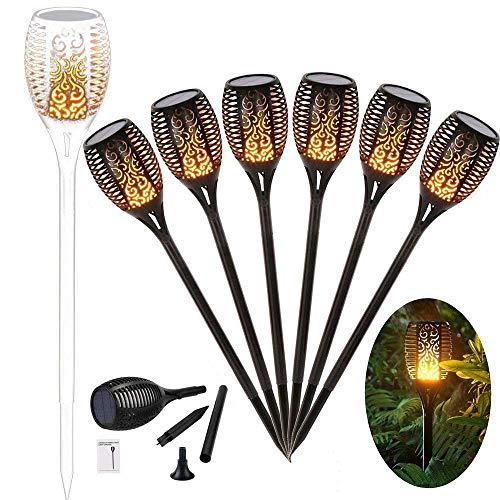 96 LED Solar Gartenleuchte Solar Garten Beleuchtung Garten Licht, Solarlampe mit IP65 wasserdicht und realistischen Flammen (6 Stücke)