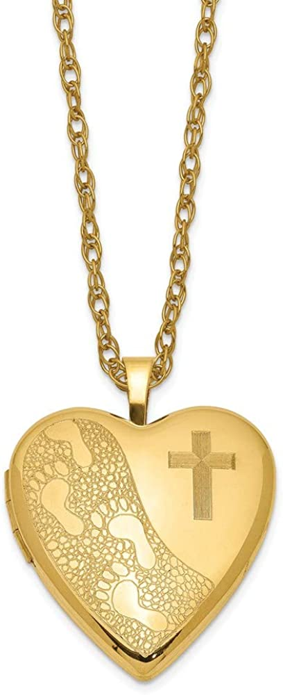 1/20 Gold Filled 20mm Cross & Footprint Heart Locket Necklace 18in 19mm style QLS279-18