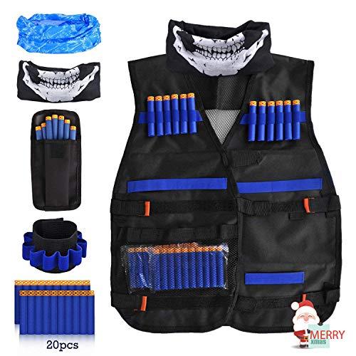 LOYO Taktische Weste für Kinder, verstellbar, taktische Weste, Jacken-Set für Nerf-Spielzeugpistole, N-Strike Elite Serie mit 20 weichen Schaumstoff-Parts und 1 x 8-Dart Armband