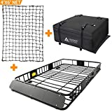 Leader Accessories Roof Rack Cargo Basket Set, Car Top Luggage Holder 64'x 39'x 6' + Waterproof Rooftop Cargo Carrier Bag + 4' x6' Super Duty Bungee Cargo Net Stretches to 8' x 12'