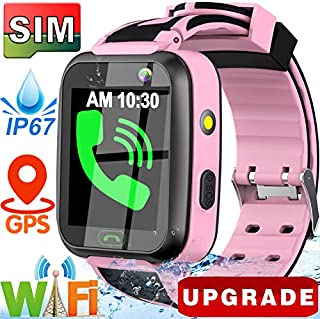 GBD Kids Smart Watch with SIM Card,GPS Tracker Waterproof Smart Watches Phone for Boys Girls with Fitness Tracker Pedometer Camera Alarm Clock Sport Watch Wristwatch for Kids Birthday Gifts