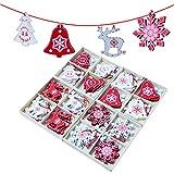 Gudotra 48pcs Etiquetas de Madera Navidad Decoraciones para Árboles de Navidad Colgantes de Madera Adornos de Navidad (Estilo11-48pcs Etiquetas de Madera Navidad)