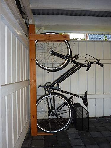 Beauty.Scouts Outdoor Dino Collection Fahrradhalterung Veronika, Kiefer, honigbraun, 190 x 13,6 x 70 cm, für 2 Fahrräder, Garage, Fahrrad, Halterung, Garagenfahrradhalterung