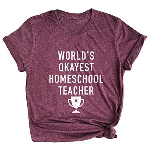 Spunky Pineapple World's Okayest Homeschool Teacher Funny School Premium T-Shirt Maroon