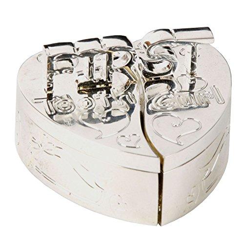 Eerste tand en eerste krul hart gevormde doos Set verzilverd CG140