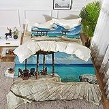 ropa de cama - Juego de funda nórdica, decoración costera, terraza de madera junto a la playa con veranda de agua azul intenso Océano exótico, B, juego de funda nórdica de microfibra hipoalergénica co