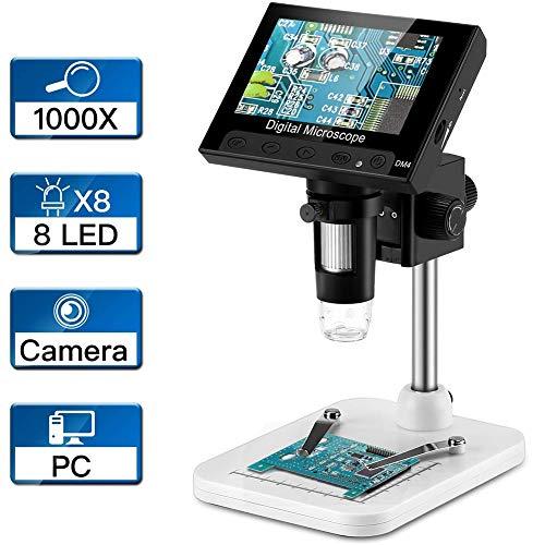 April Story Microscopio de 4.3 Pulgadas Endoscopio Digital LCD Grabar 1000X Zoom de Aumento 8 Luces LED Ajustables para Reparación de Placa Base PCB
