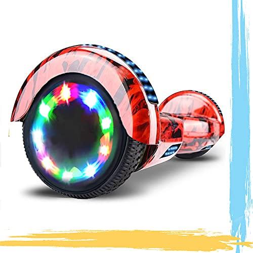 HST 6.5'' Hoverboard Patinetes de Acrobacias Patinete Eléctrico Bluetooth Monopatín Scooter Autobalanceado, Ruedas de Skate con luz LED, Motor Bluetooth de 700W… (Fuego)