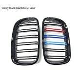 MATBC L+R Gloss Black Double Slat Kidney Grille Front Grill For BMW X5 X6 E70 E71 2007 2013 Car Styling Racing Grills