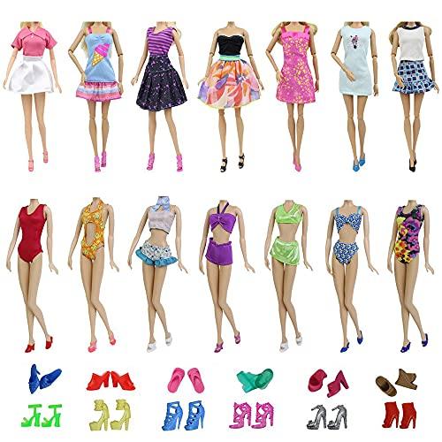 ZITA ELEMENT Traje de Baño y Ropa Barbie 15 Piezas Hecha a Mano = 5 Ropa de Verano Corta + 5 Trajes de Baño + 5 Zapatos para 28-30cm 11,5 Pulgadas Barbie - Estilo de Vestir al Azar