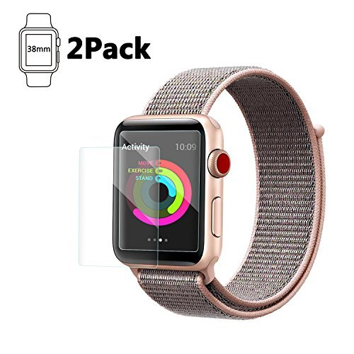 38mm Apple Watch Screen Protector, Celltronics 2-Pack Tempered Glass Screen Protector, Anti-Scratch Bubble Resistant 0.3mm Screen Film for 38mm iWatch Series 1/2/3