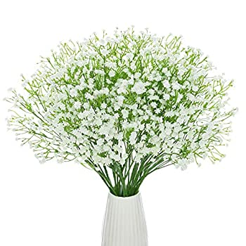 DuHouse 10Pcs Babys Breath Artificial Flowers Fake White Flowers Real Touch Gypsophila Floral in Bulk for Home Wedding Garden Decor  White Long Stem