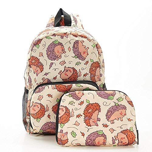 Eco Chic Foldable Expandable Mini Backpack 100% RPET Material Hedgehog Beige