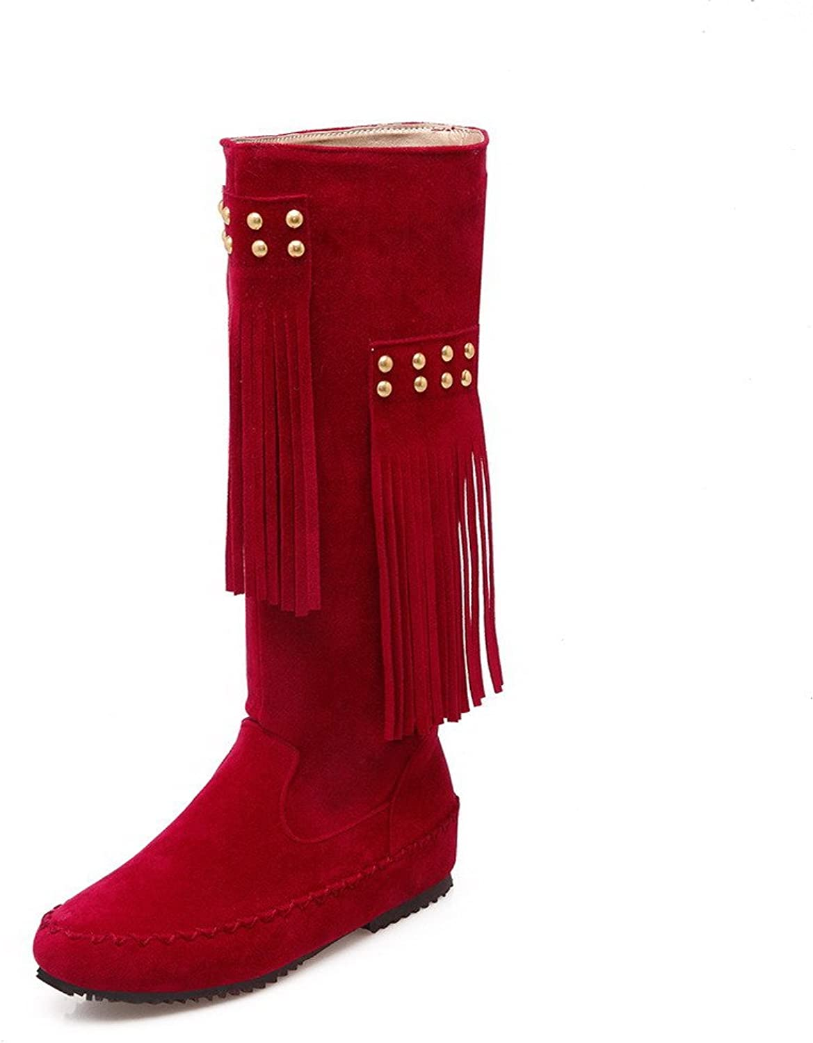 AllhqFashion Women's Pull-on Low-Heels Flock Solid High-top Boots