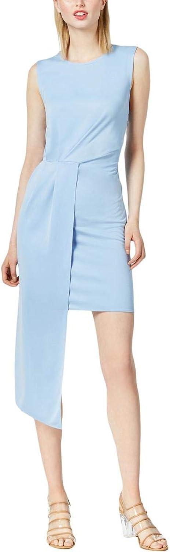Bar III Womens Asymmetrical Draped Mini Dress bluee M