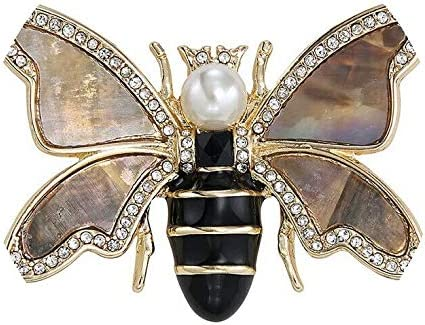 Women's Brooch safety Bee Gold Tone Sparkling Max 69% OFF Pin Rhinestone Pearl Faux