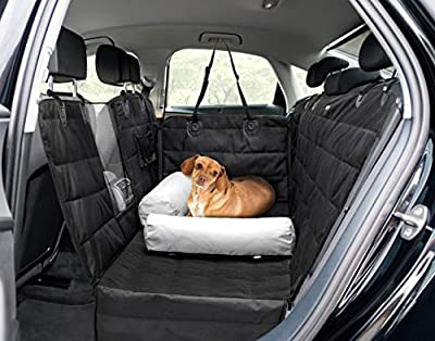 Barkbox 2-in-1 Car Seat Cover/Pillow Set for Dogs | Hammock & Bed, Durable, Waterproof, Non-Slip Pet Accessory | Standard Size for Back Seat of Cars, Trucks & SUVs | Includes Seat Belt & Storage Case
