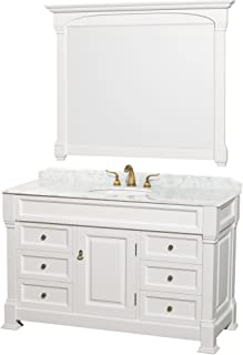 Wyndham Collection Andover 55 inch Single Bathroom Vanity in White, White Carrara Marble Countertop, Undermount Oval Sink, and 50 inch Mirror