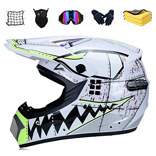 YYSY Motorrad Crosshelm für Mountainbike ATV BMX Downhill Offroad, Jugend Sturzhelm Schutzhelm für Herren Damen, Road Motorradhelm Crosshelm Set Handschuhe Maske (S)