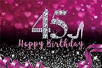 45歳の誕生日パーティーのための新しい紫色の背景10x7ft女性ダイヤモンドシルバーハイヒールキラキラスパンコールスウィートハーツ写真背景ファッションシックなハッピー45歳の誕生日バナー写真撮影の小道具
