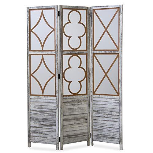 Homestyle4u 1859, Paravent Raumteiler 3 teilig, Holz Vintage Design, Weiß Grau