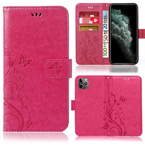 numerva Funda compatible con iPhone 11 Pro Max, funda para teléfono móvil, funda con tarjetero, diseño de flores, color rosa