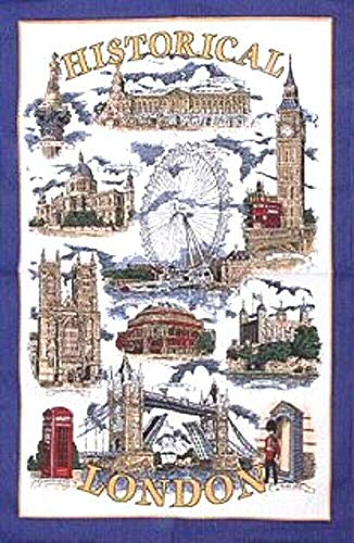 Historical London Tea Towel Souvenir Gift Big Ben Tower Bridge Nelson Telephone Box Buckingham Palace by Elgate