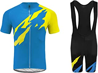 Uglyfrog Mens Short Sleeve Cycling Jersey 3D Padded Bib Short Set Quick-Dry Polyester G07