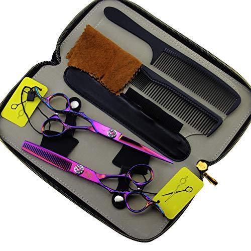 DANTB 2 unids/Set Profesional salón Barber Tijeras Peluquero Shears Kit de Herramientas...