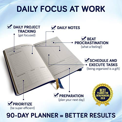 Product Image 3: Business Planner Undated for Entrepreneurs! Focus Project Notebook for Productivity! Best Daily Weekly Self Organizer Planner / Win the Day! Beat Procrastination! Ifocus – A5 work planner