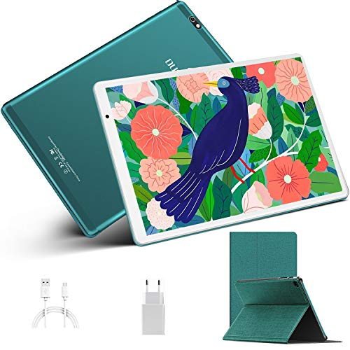 Tablet 10.1 Pollici, DUODUOGO Tablet Android 10.0 con 4GB RAM 64GB ROM, Quad-Core 1.6 GHz, Schermo IPS HD, Bluetooth, GPS, Fotocamera 5MP + 8MP, WiFi, Dual 4G LTE Tablet PC -Verde
