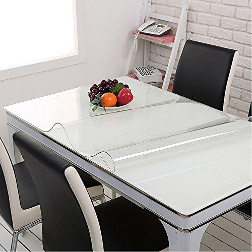 yazi Mantel de cristal impermeable de PVC transparente para mesa, cubierta de escritorio, sala de estar, cocina, cuadrado, 80 x 80 cm x 1 mm