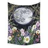 Planta flores silvestres tapiz de luna colgante de pared paisaje paisaje manta de pared hippie tapiz de pared manta tapiz psicodélico A2 130x150cm