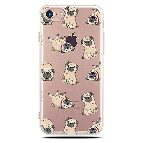 Blingy's iPhone SE (2020) Case/iPhone 8 Case/iPhone 7 Case(4.7inch), Pug Style Transparent Clear Flexible TPU Protective Case Compatible for iPhone SE (2020)/iPhone 8/iPhone 7 (Pug Style)
