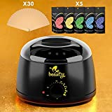 Wax Warmer Hair Remouval Kit - Wax Heater with 5 Hard Wax Beans and 30 Applicator Sticks - Professional and Home Waxing Kit for Women and Men - Body - Face - Bikini Hair Removal