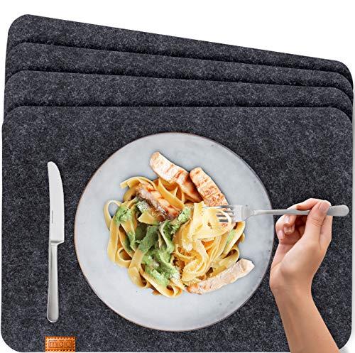 Miqio® - Design Tischset aus Filz | Marken Label aus echtem Leder | 4er Set Platzset (dunkel grau anthrazit) abwaschbar | Filzmatte Tisch Untersetzer Platzdeckchen abwischbar