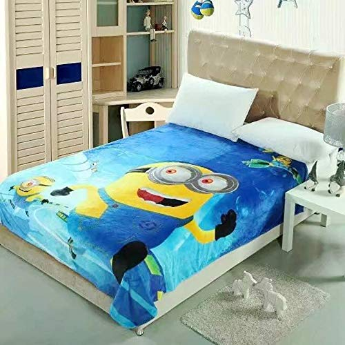 Talever Kinder-Decke, superplüschig, Cartoon-Druck, für Kinder und Erwachsene, leicht, Coral-Fleece-Decke, Größe 150 x 198 cm Minions